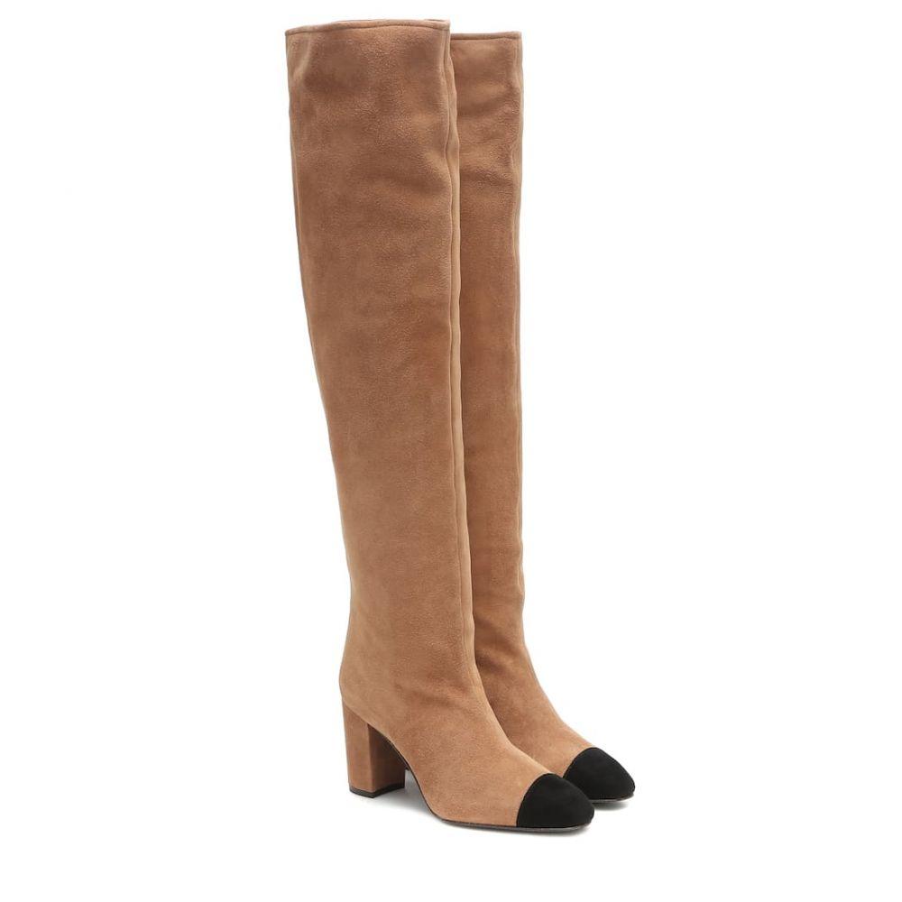 スチュアート ワイツマン Stuart Weitzman レディース ブーツ シューズ・靴【kimberly suede over-the-knee boots】Camel Black