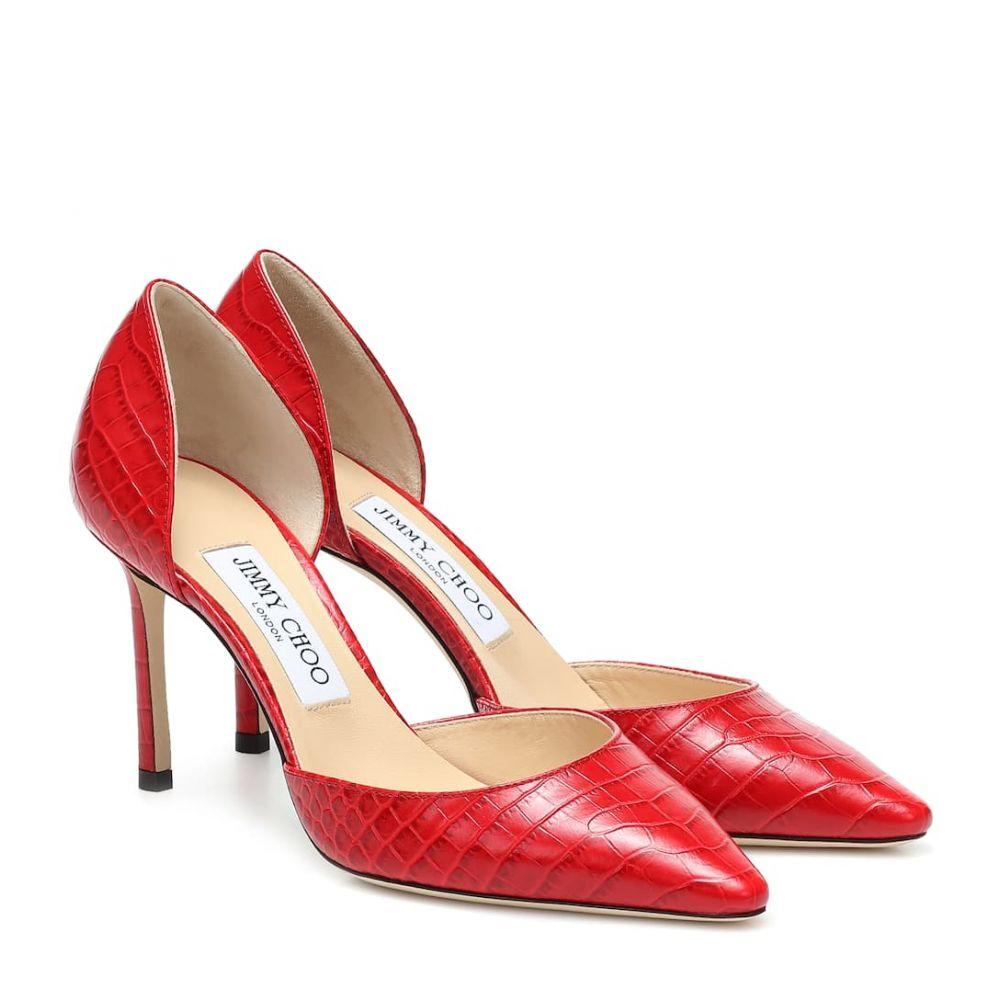 ジミー チュウ Jimmy Choo レディース パンプス シューズ・靴【esther 85 croc-effect leather pumps】Red