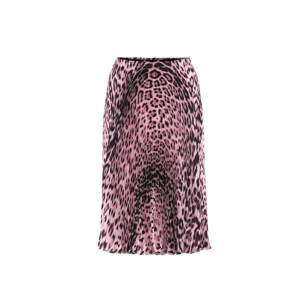ロベルト カヴァリ Roberto Cavalli レディース ひざ丈スカート スカート【pleated leopard-print skirt】Cherry Blossom/Black