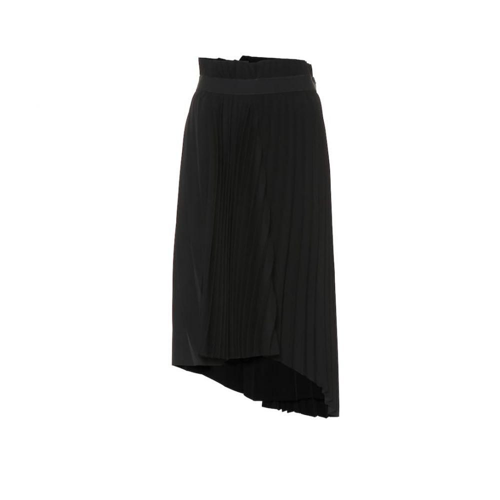 バレンシアガ Balenciaga レディース ひざ丈スカート スカート【asymmetric pleated midi skirt】Black