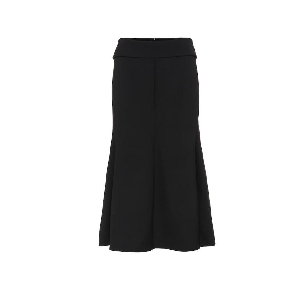 ヴィクトリア ベッカム Victoria Beckham レディース ひざ丈スカート スカート【chain-trimmed wool-crepe midi skirt】Black