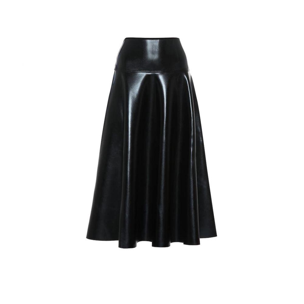 ノーマ カマリ Norma Kamali レディース ひざ丈スカート スカート【faux leather midi skirt】Black Foil