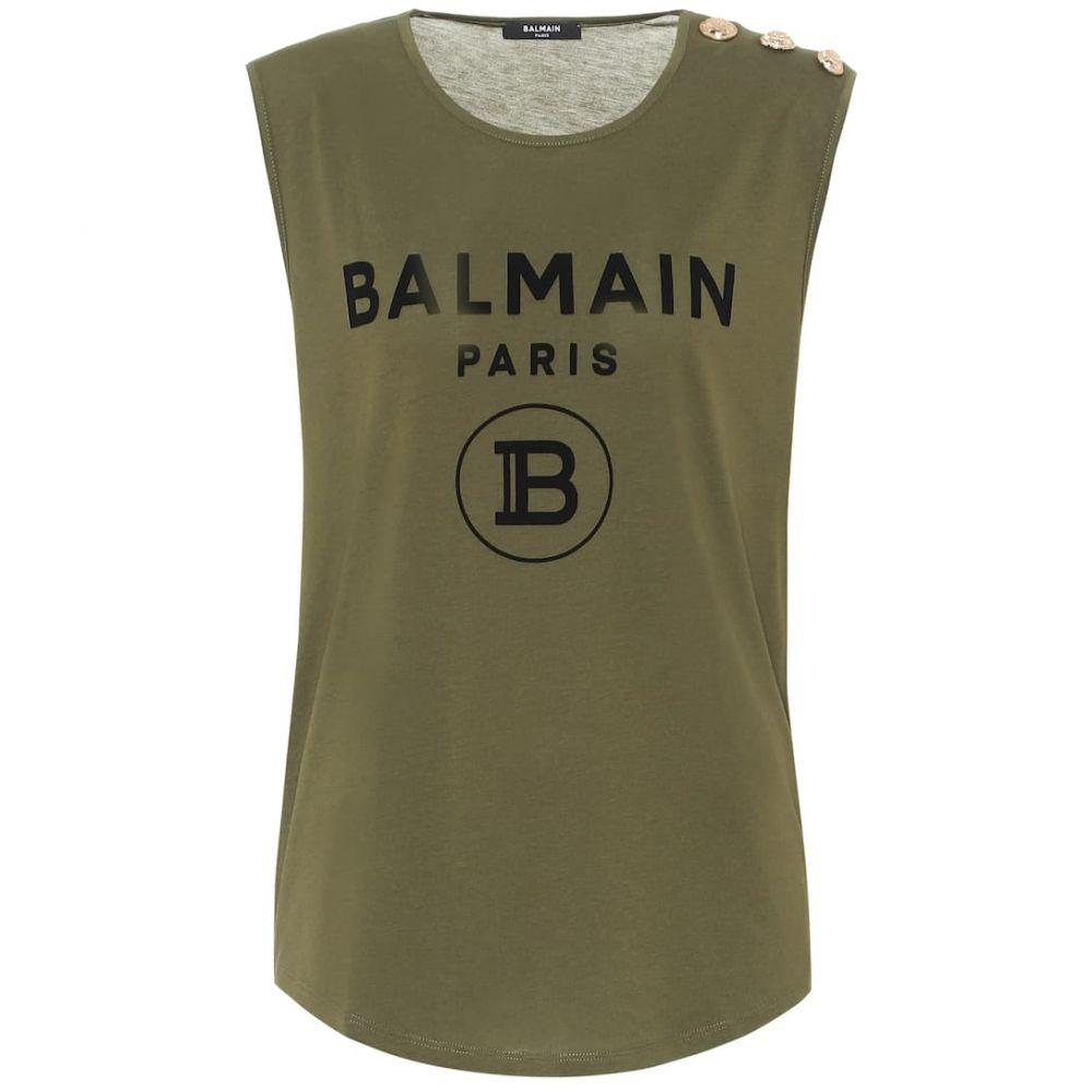 バルマン Balmain レディース タンクトップ トップス【logo cotton-jersey tank top】Kaki/Noir