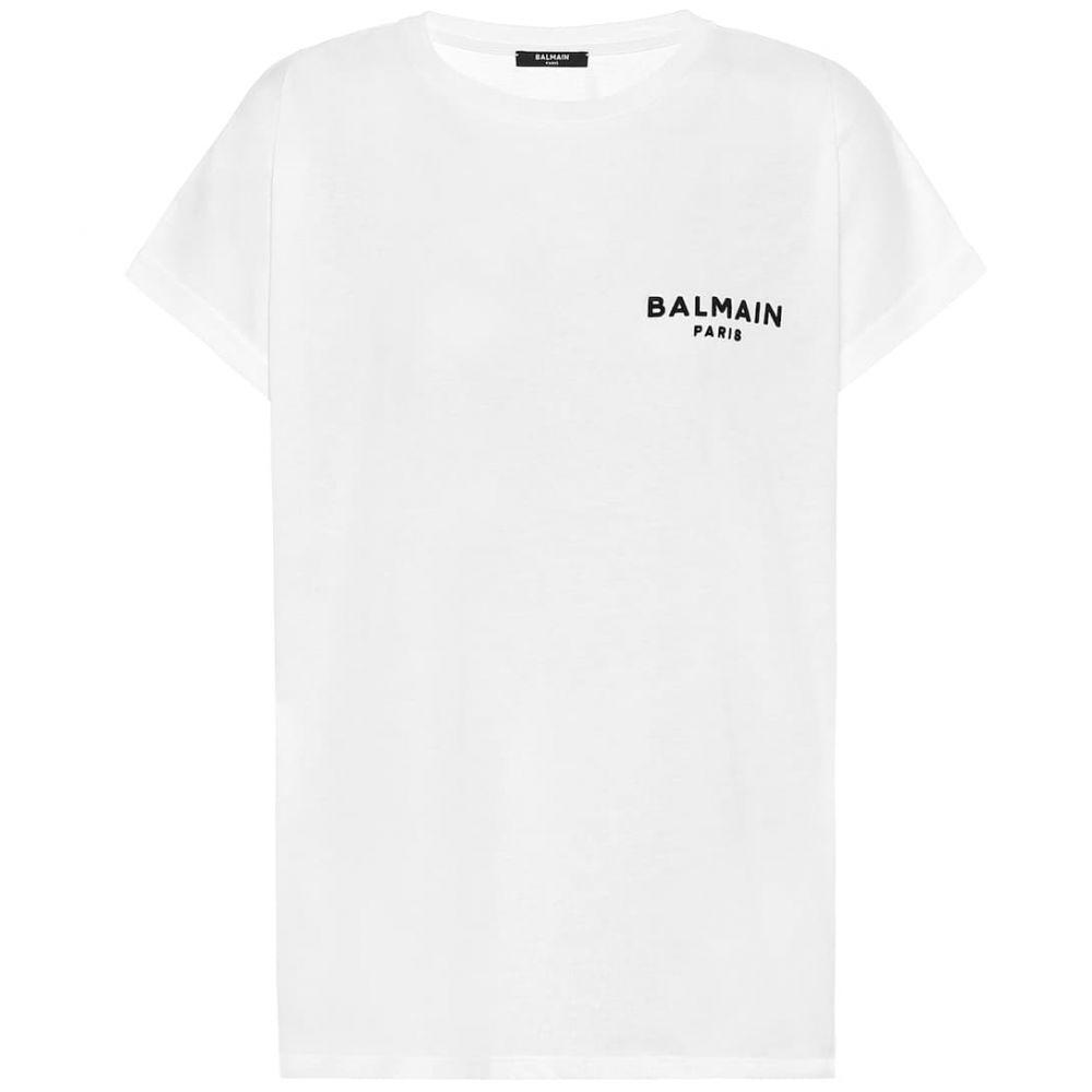 バルマン Balmain レディース Tシャツ トップス【logo cotton t-shirt】Blanc/Noir