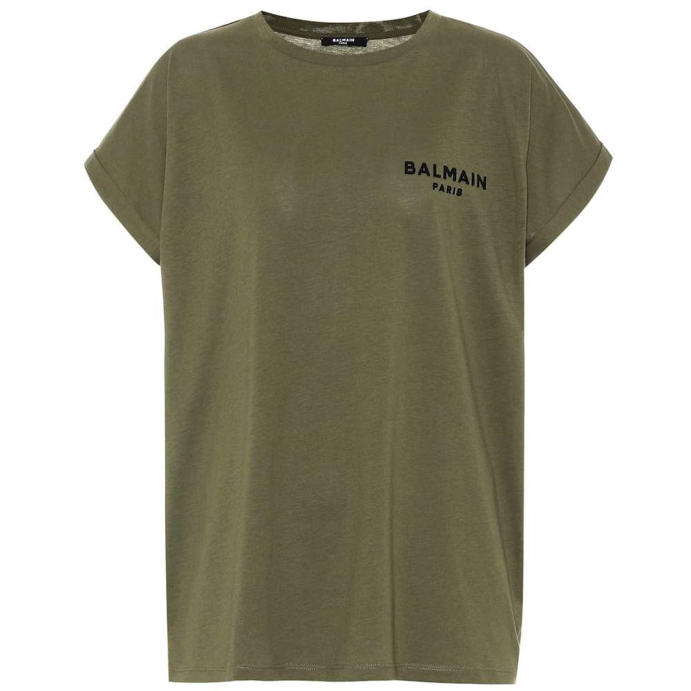 バルマン Balmain レディース Tシャツ トップス【cotton t-shirt】Kaki/Noir