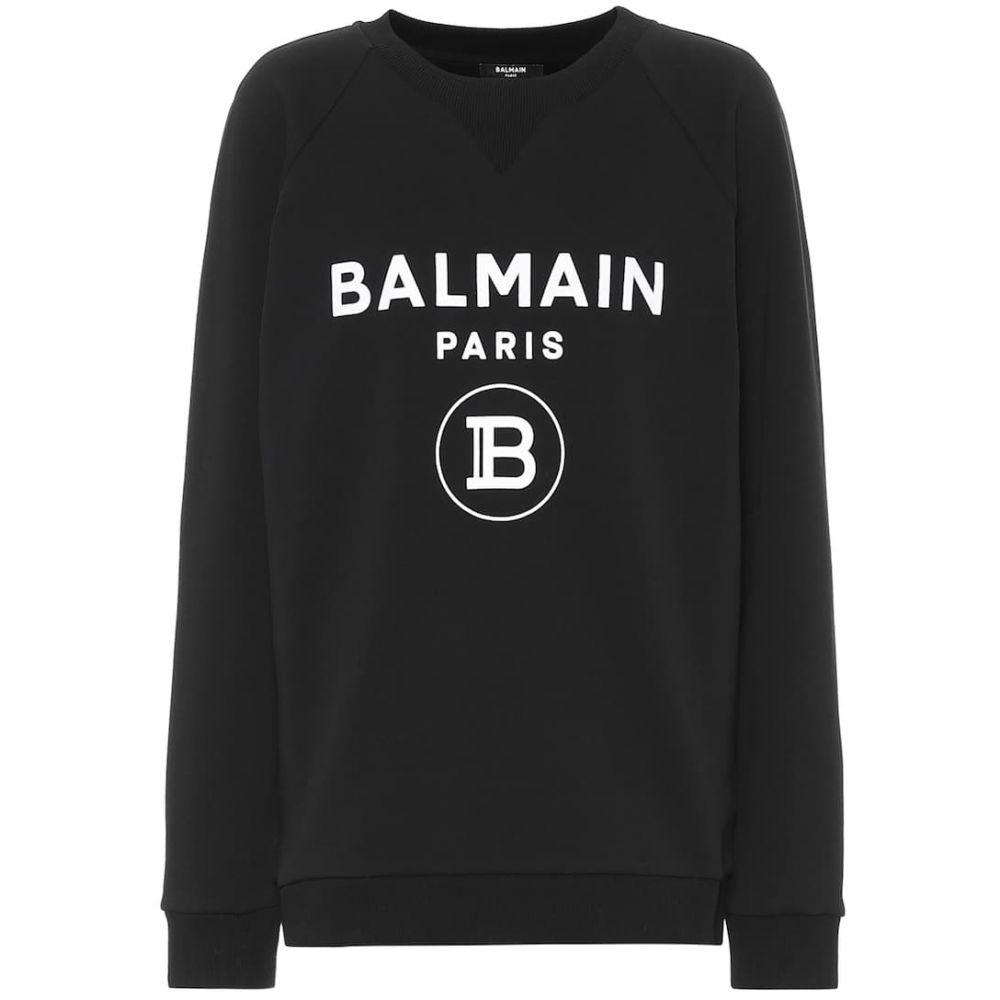 バルマン Balmain レディース スウェット・トレーナー トップス【logo cotton sweatshirt】Noir/Blanc
