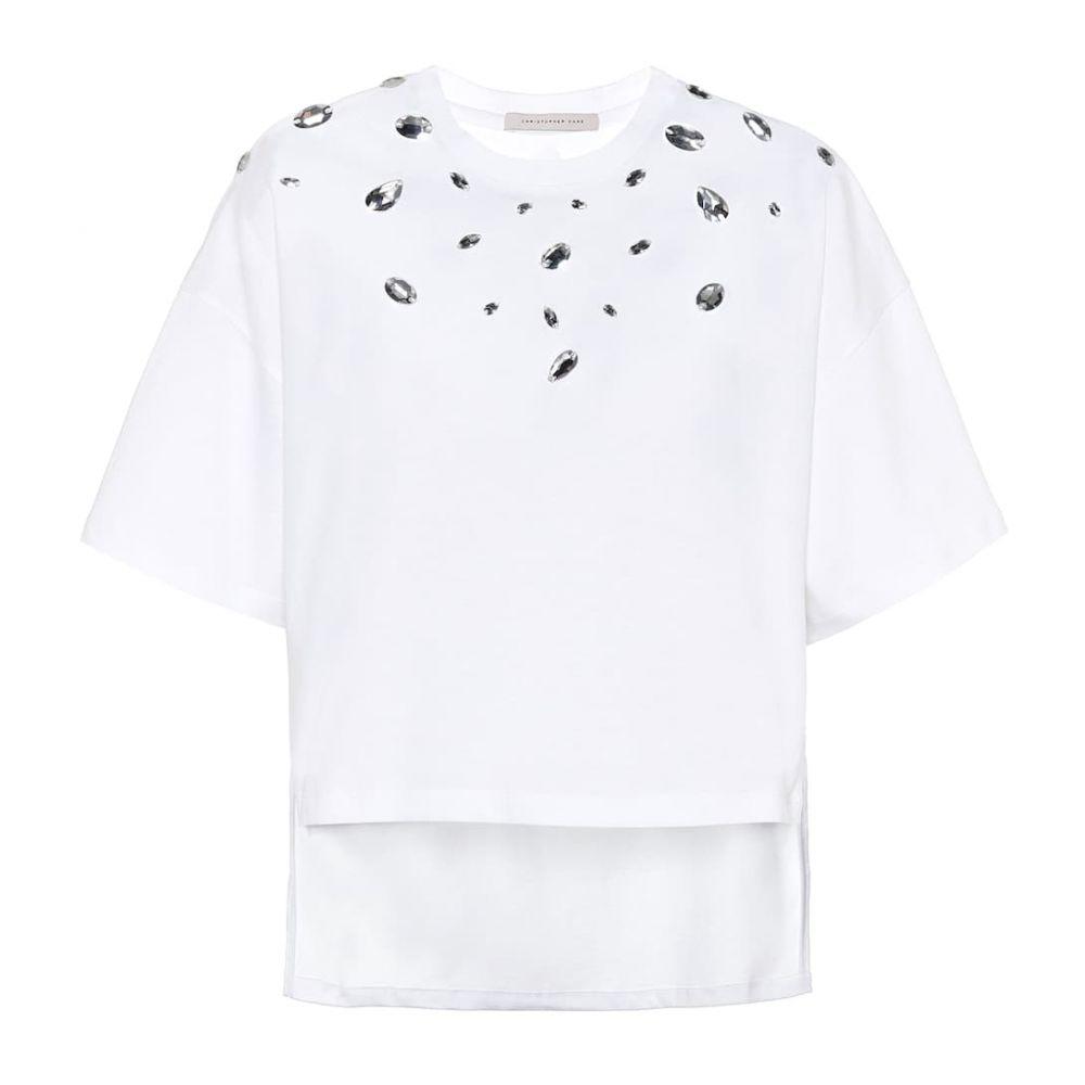 クリストファー ケイン Christopher Kane レディース Tシャツ トップス【crystal-embellished cotton t-shirt】White