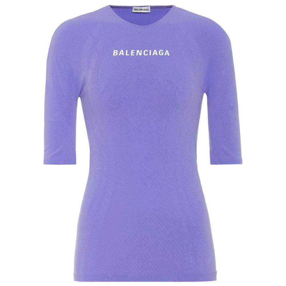 バレンシアガ Balenciaga レディース トップス 【logo athletic stretch-jersey top】Lilac