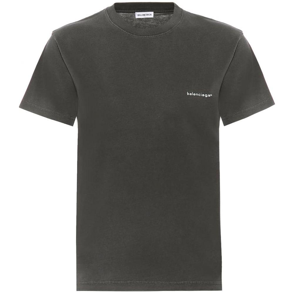 バレンシアガ Balenciaga レディース Tシャツ トップス【logo cotton-jersey t-shirt】Washed Black