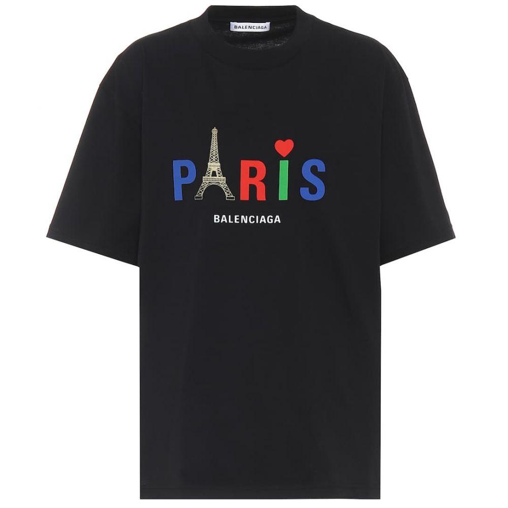 バレンシアガ Balenciaga レディース Tシャツ トップス【paris love cotton t-shirt】Black