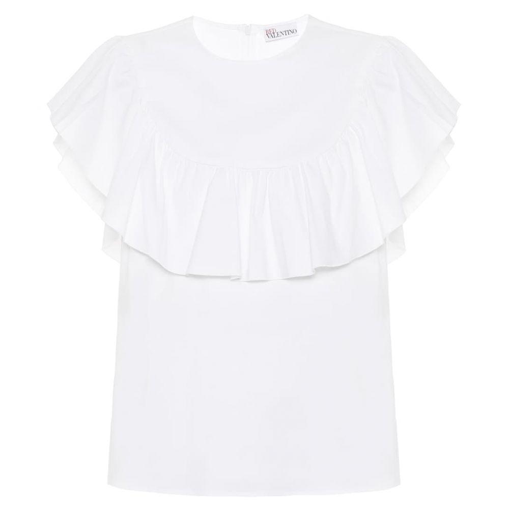 レッド ヴァレンティノ REDValentino レディース トップス 【ruffled cotton-blend top】Bianco Ottico