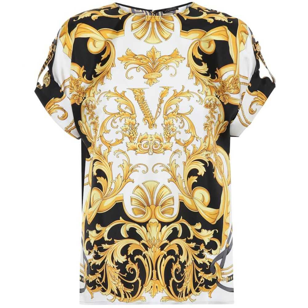 ヴェルサーチ Versace レディース トップス 【printed silk top】F. Do Bianco/Stampa