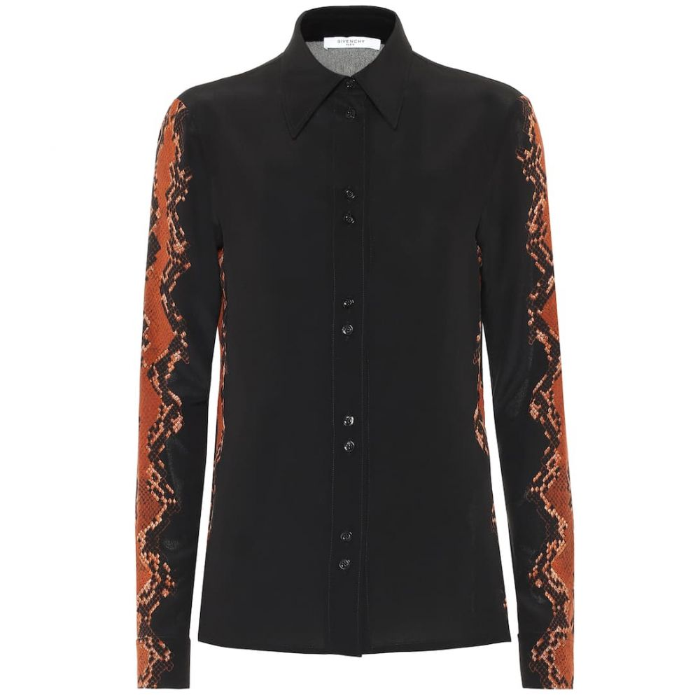 ジバンシー Givenchy レディース ブラウス・シャツ トップス【snake-print silk-crepe blouse】Black/Brown