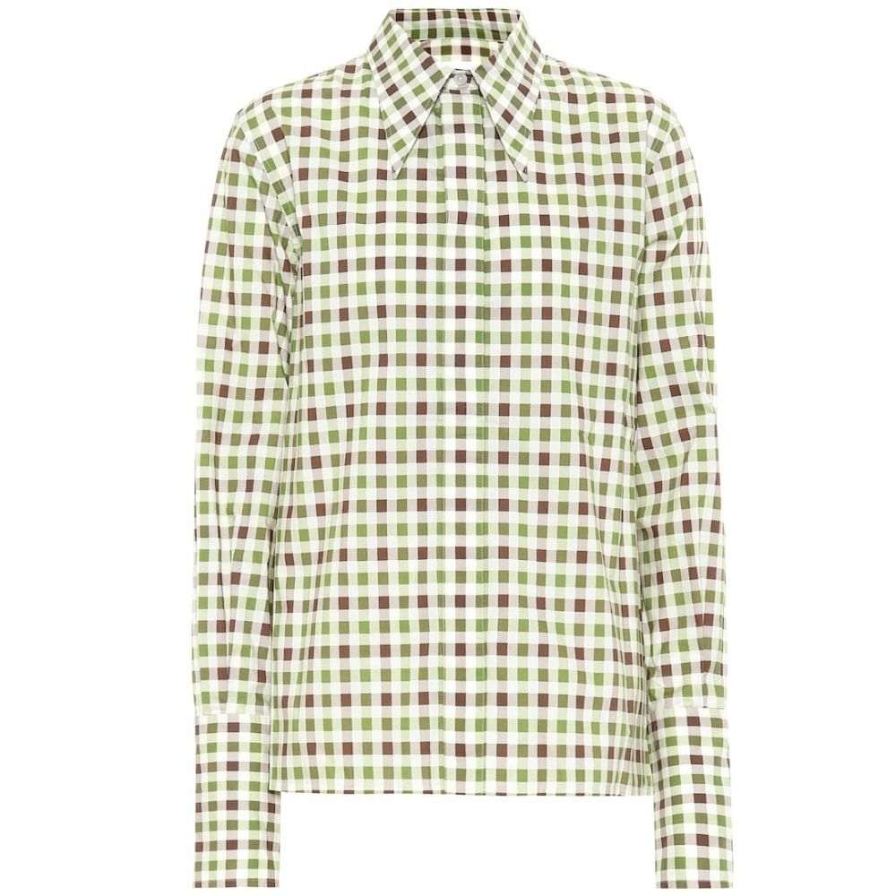 ヴィクトリア ベッカム Victoria Beckham レディース ブラウス・シャツ トップス【gingham cotton shirt】Green Brown