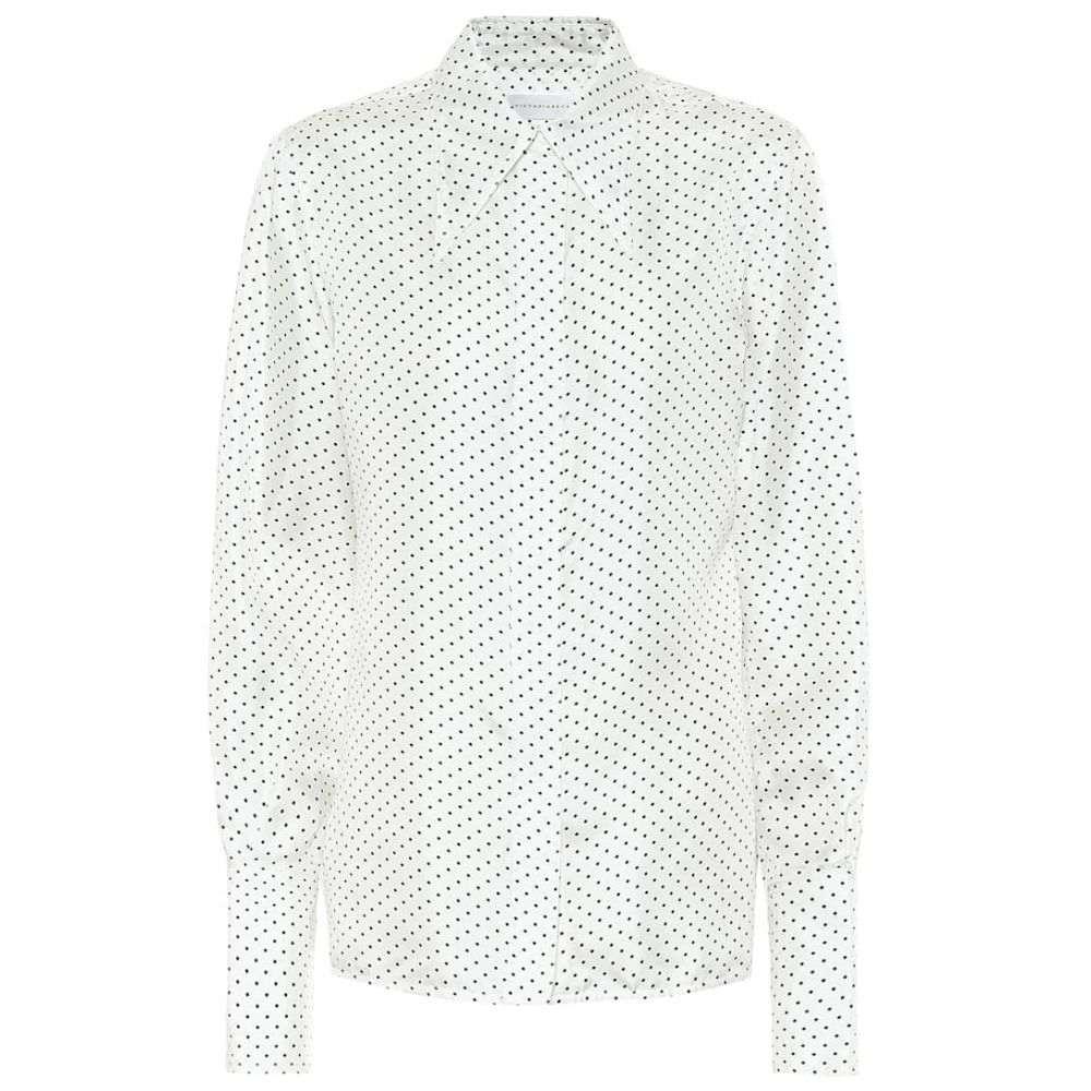 ヴィクトリア ベッカム Victoria Beckham レディース ブラウス・シャツ トップス【polka-dot silk-satin blouse】White Black