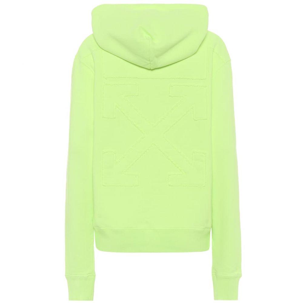 オフホワイト Off-White レディース パーカー トップス【cotton-jersey hoodie】Fluo Yellow Silv