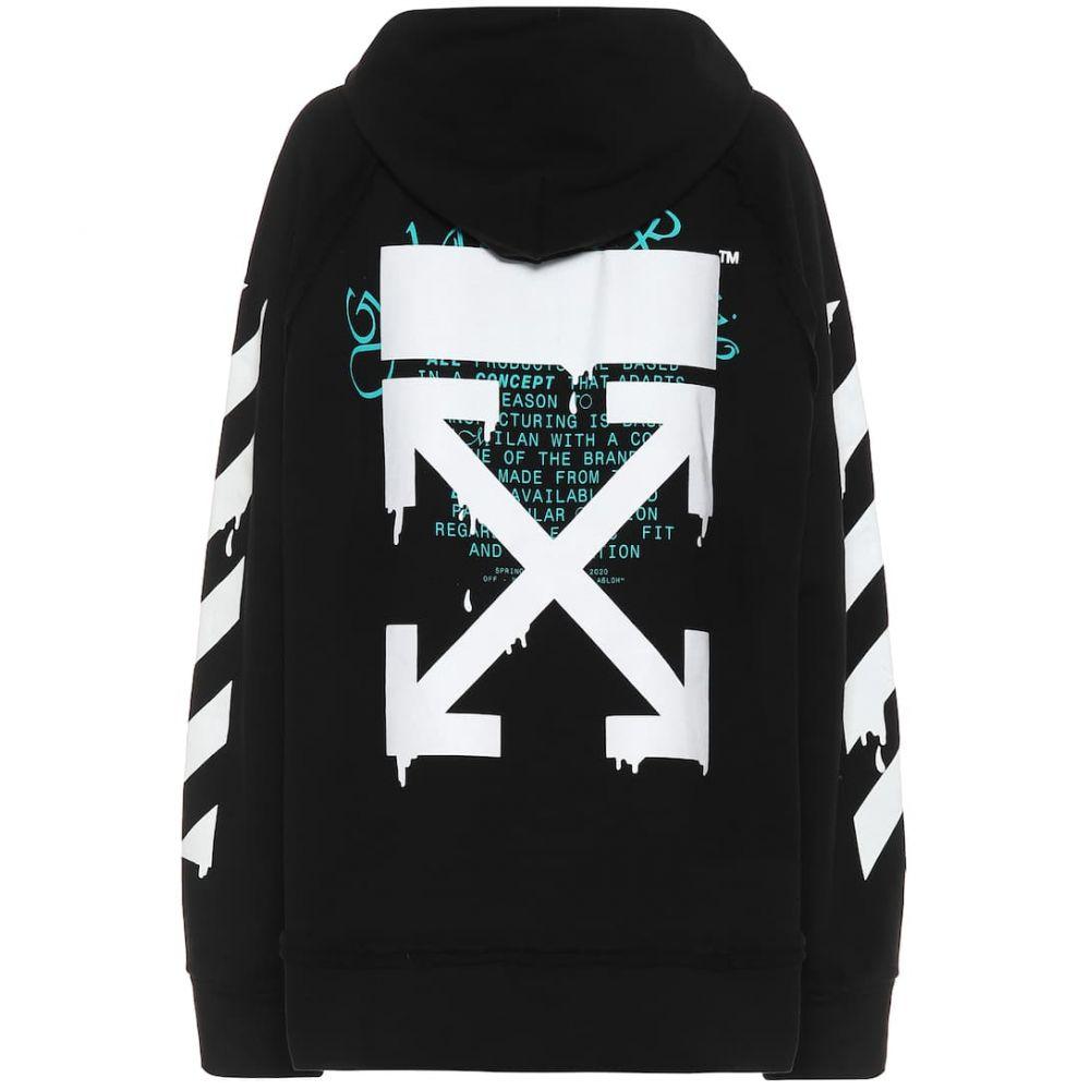 オフホワイト Off-White レディース パーカー トップス【logo cotton hoodie】Black White