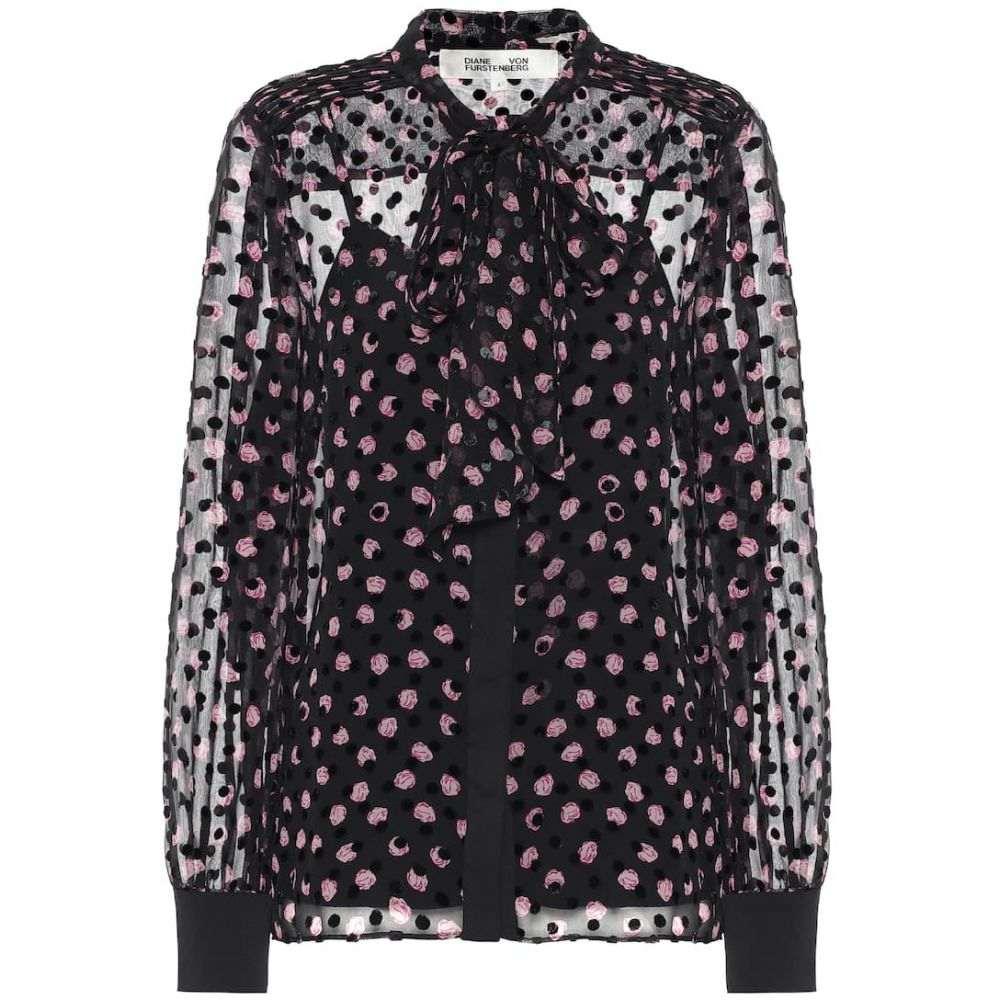 ダイアン フォン ファステンバーグ Diane von Furstenberg レディース ブラウス・シャツ トップス【minnie silk-blend devore blouse】Black/Pink