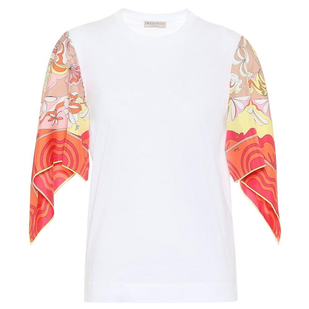 エミリオ プッチ Emilio Pucci レディース ブラウス・シャツ トップス【silk-trimmed cotton shirt】Bianco Ottico