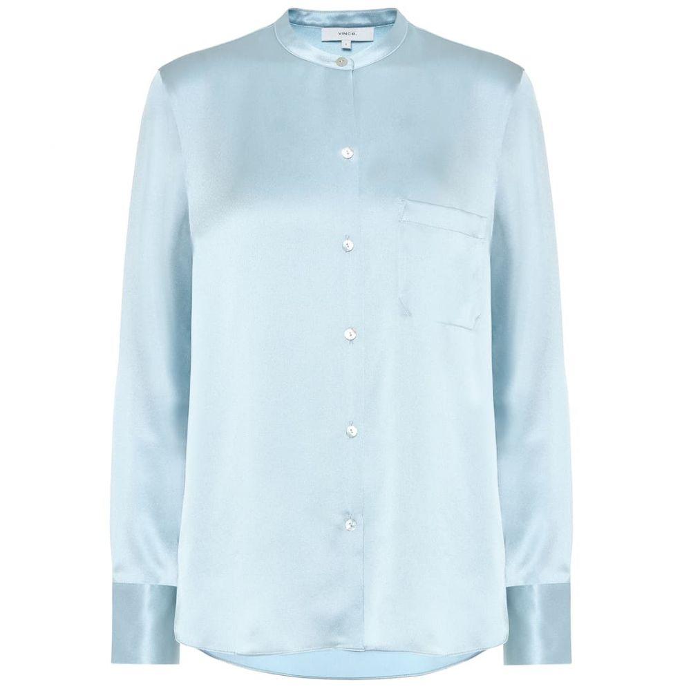 ヴィンス Vince レディース ブラウス・シャツ トップス【silk-satin shirt】Sky Lark