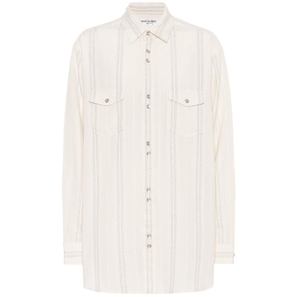 イヴ サンローラン Saint Laurent レディース ブラウス・シャツ トップス【striped twill shirt】Beige Rinse