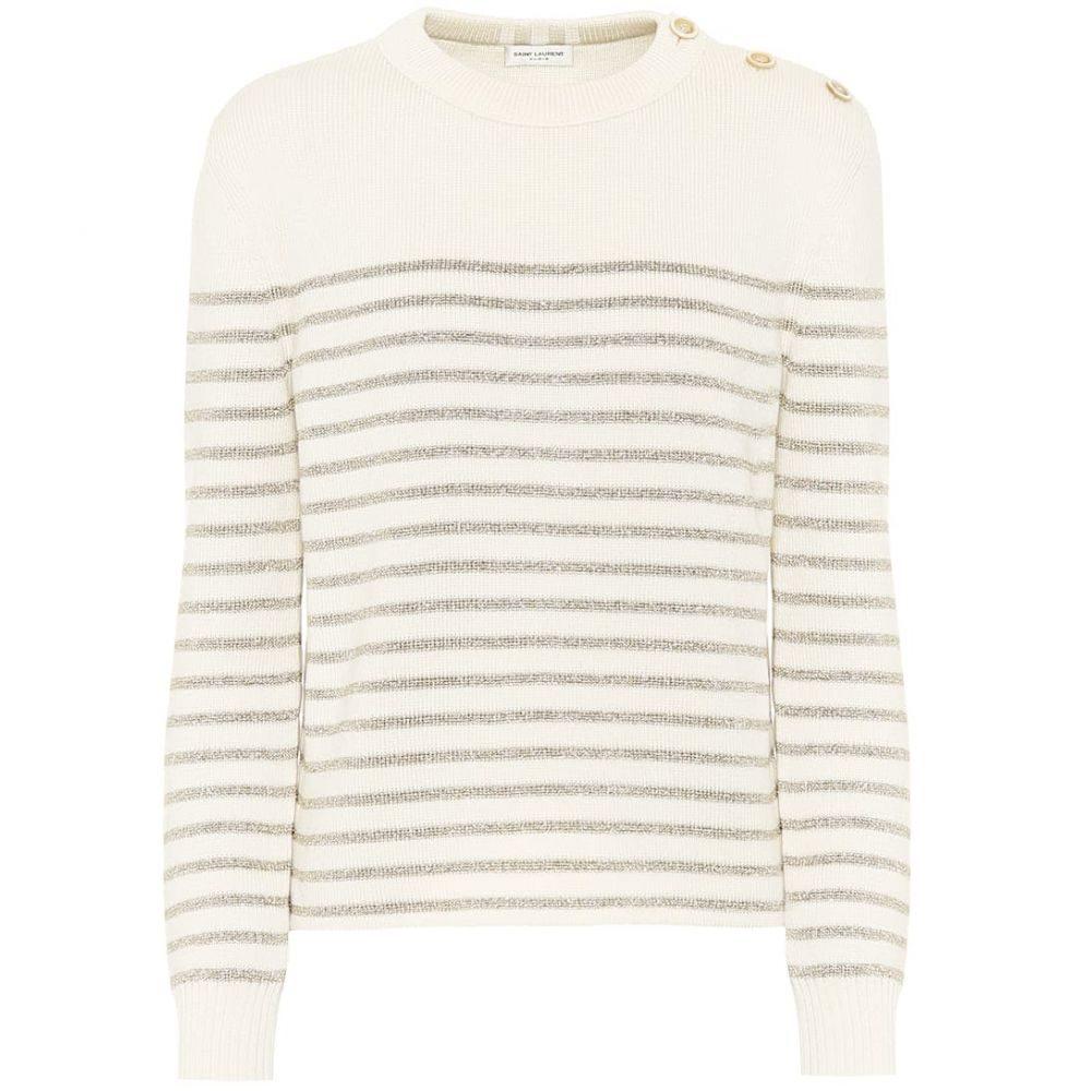 イヴ サンローラン Saint Laurent レディース ニット・セーター トップス【metallic-striped sweater】Naturel/Or