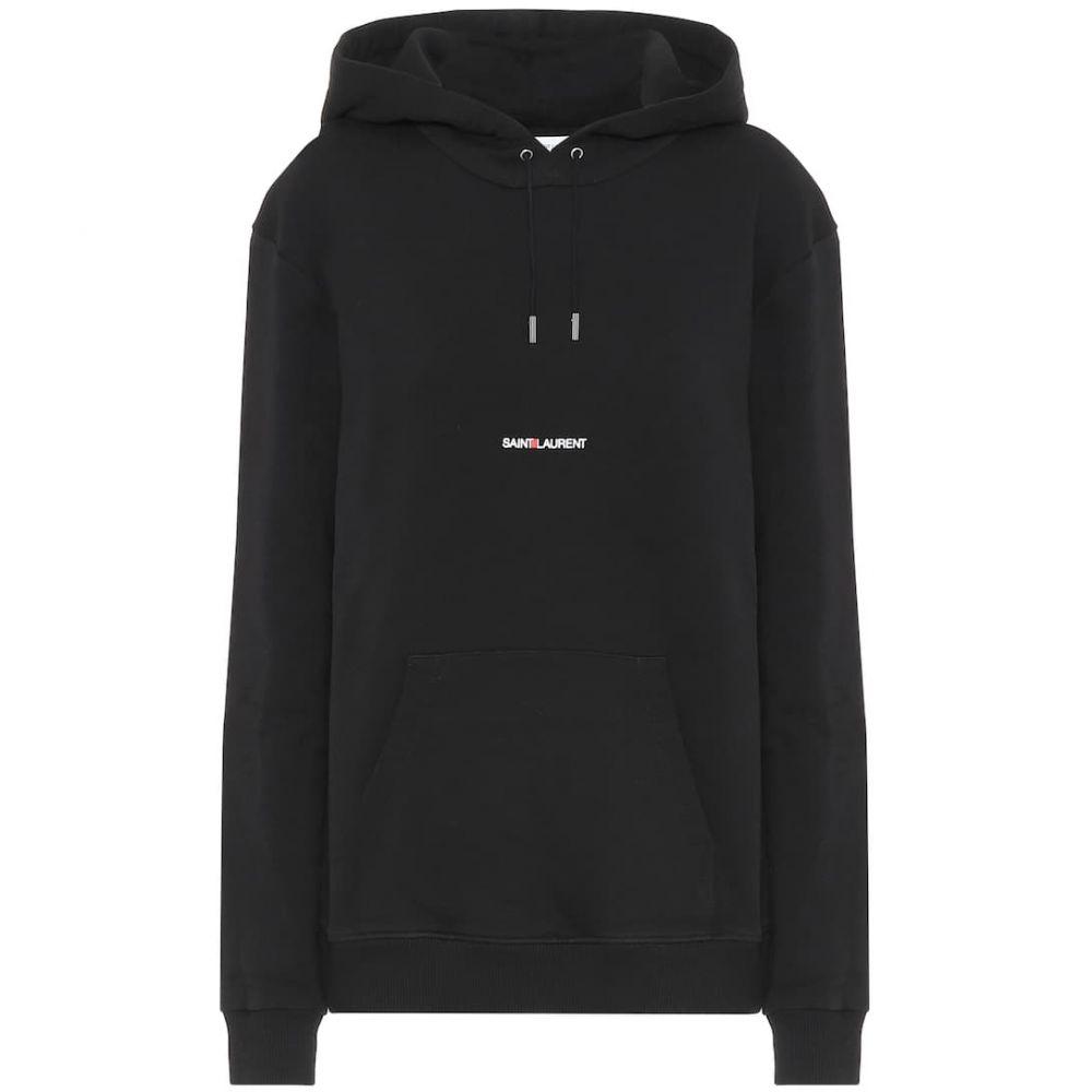 イヴ サンローラン Saint Laurent レディース パーカー トップス【logo cotton-jersey hoodie】Noir/Blanc