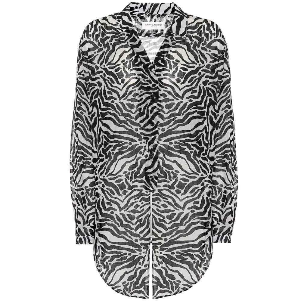 イヴ サンローラン Saint Laurent レディース ブラウス・シャツ トップス【zebra-print wool shirt】Craie Noir