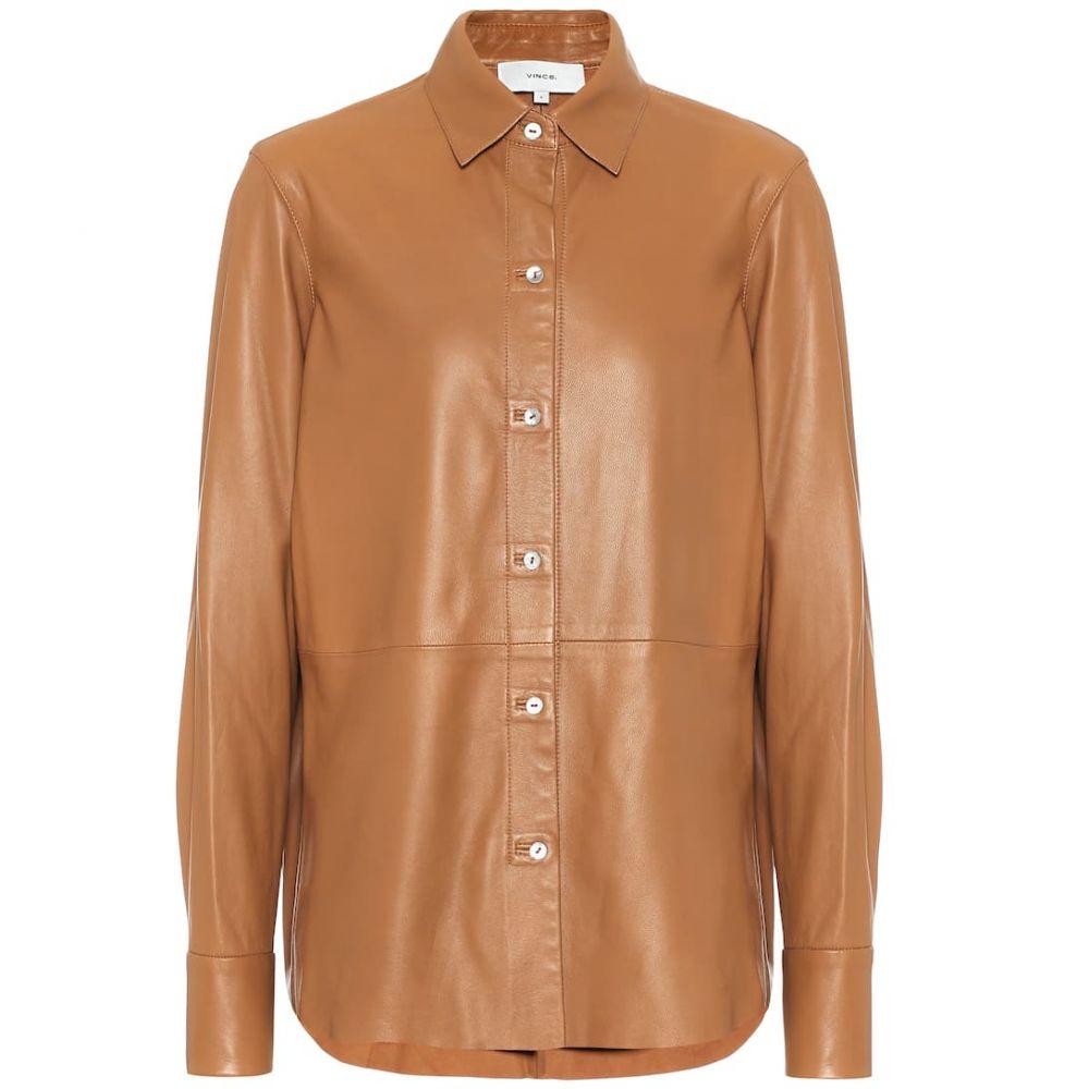 ヴィンス Vince レディース ブラウス・シャツ トップス【leather shirt】Dk Camel