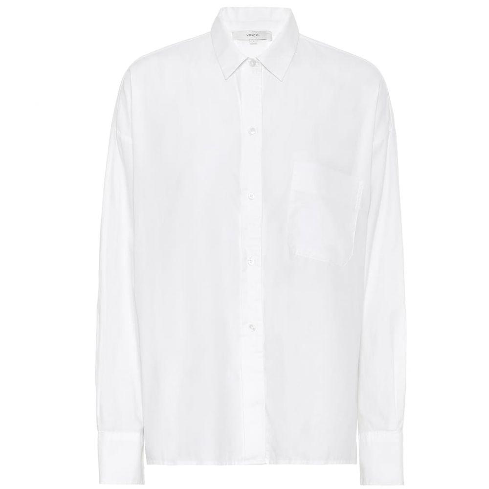 ヴィンス Vince レディース ブラウス・シャツ トップス【cotton-blend poplin shirt】White