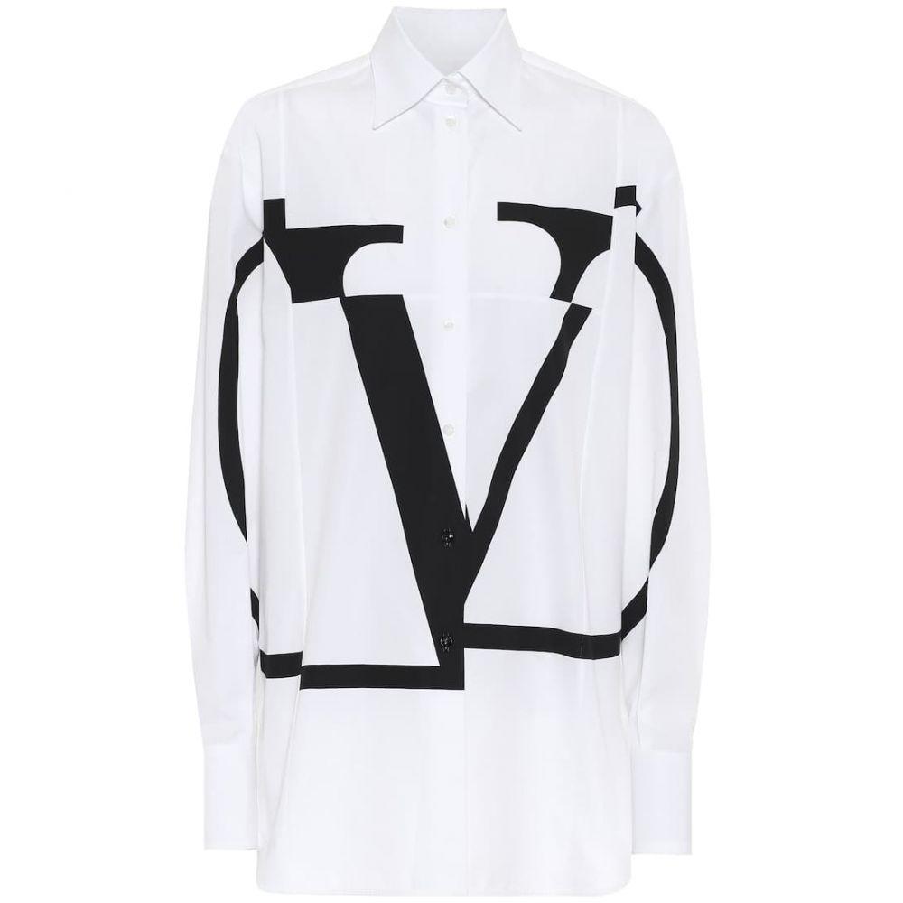 ヴァレンティノ Valentino レディース ブラウス・シャツ トップス【vlogo cotton shirt】Bianco/Nero