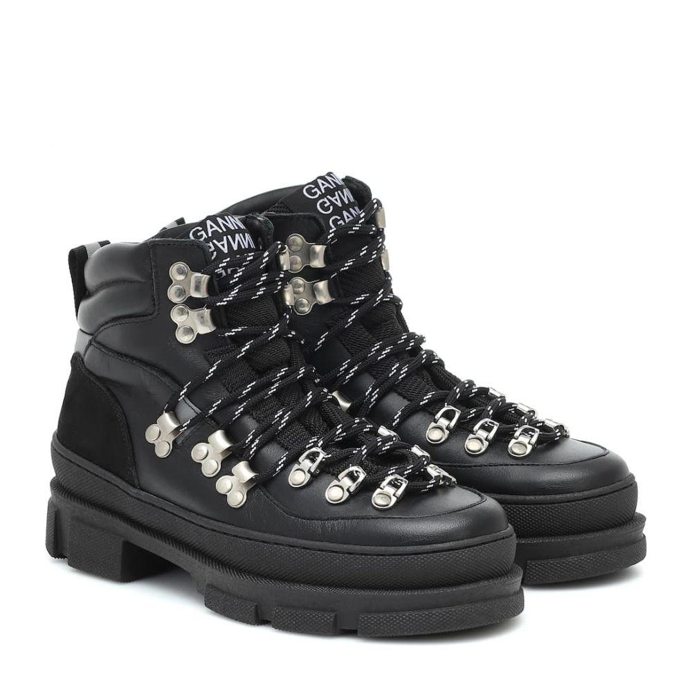 ガニー Ganni レディース ハイキング・登山 ショートブーツ ブーツ シューズ・靴【sporty hiking leather ankle boots】Black