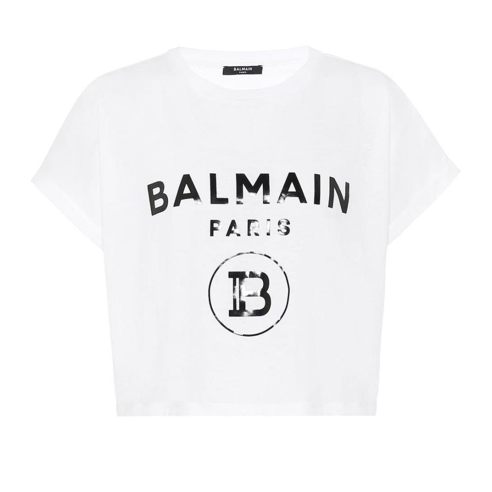 バルマン Balmain レディース ベアトップ・チューブトップ・クロップド トップス【cropped logo cotton t-shirt】Blanc/Noir