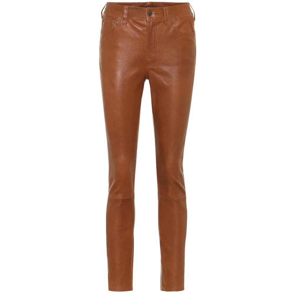 ラルフ ローレン Polo Ralph Lauren レディース スキニー・スリム レザーパンツ ボトムス・パンツ【leather high-rise slim pants】English Brown