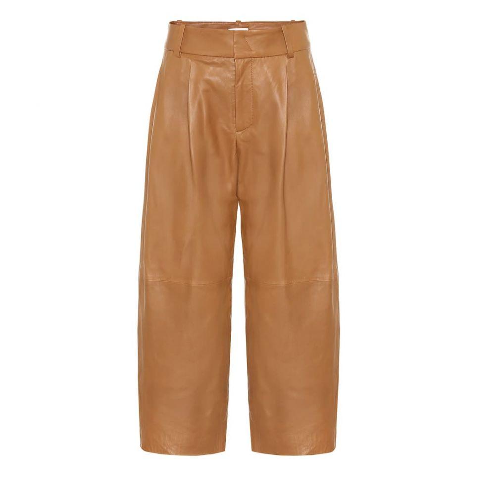 ヴィンス Vince レディース クロップド レザーパンツ ボトムス・パンツ【cropped wide-leg leather pants】Dk Camel