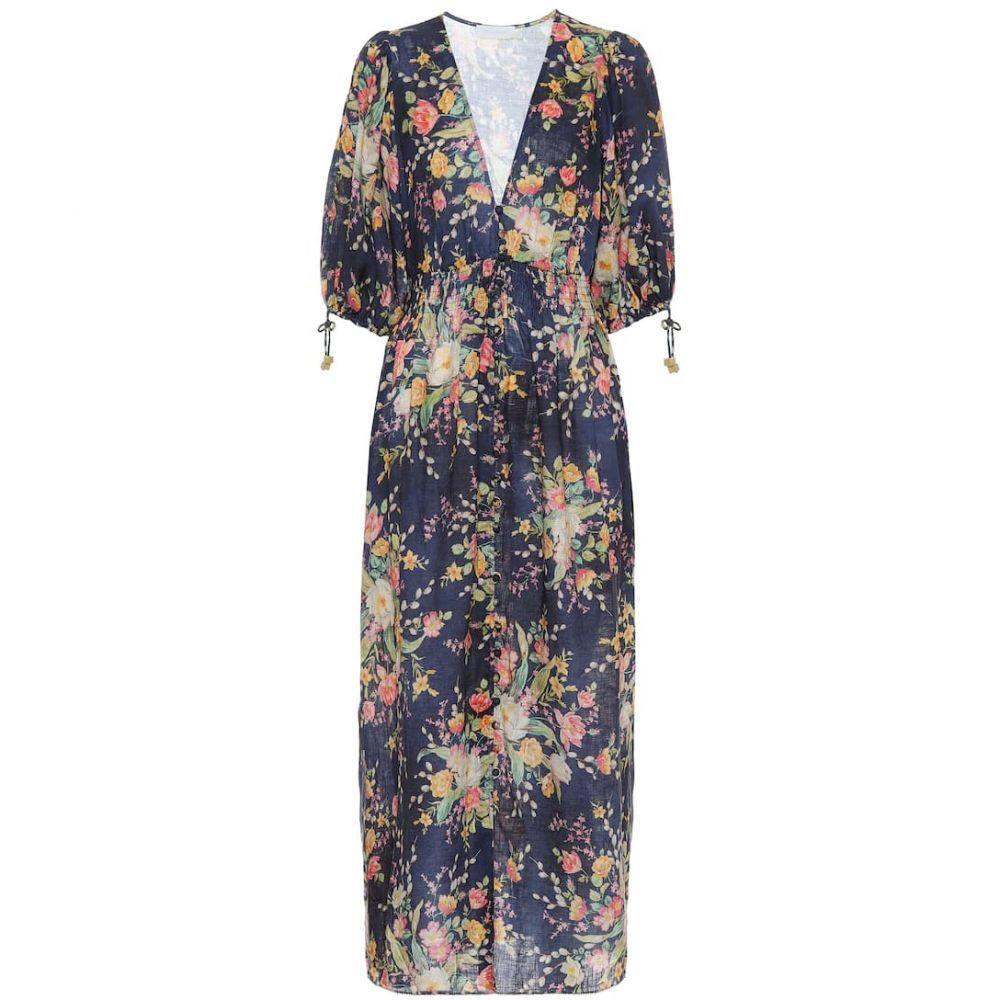 ジマーマン Zimmermann レディース ワンピース ワンピース・ドレス【zinnia floral linen dress】Cobalt Floral