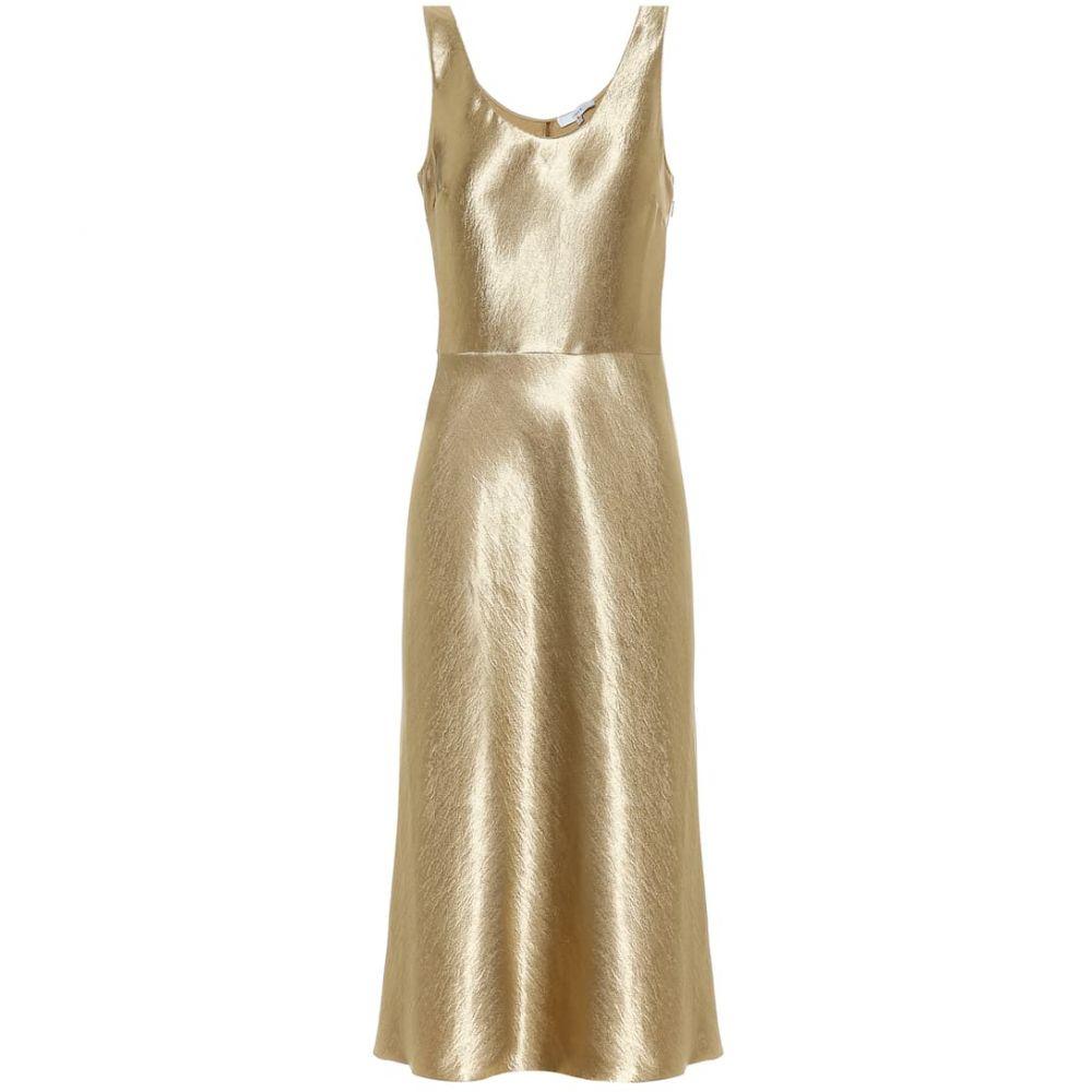 ヴィンス Vince レディース ワンピース ワンピース・ドレス【hammered-satin dress】Pale Gold