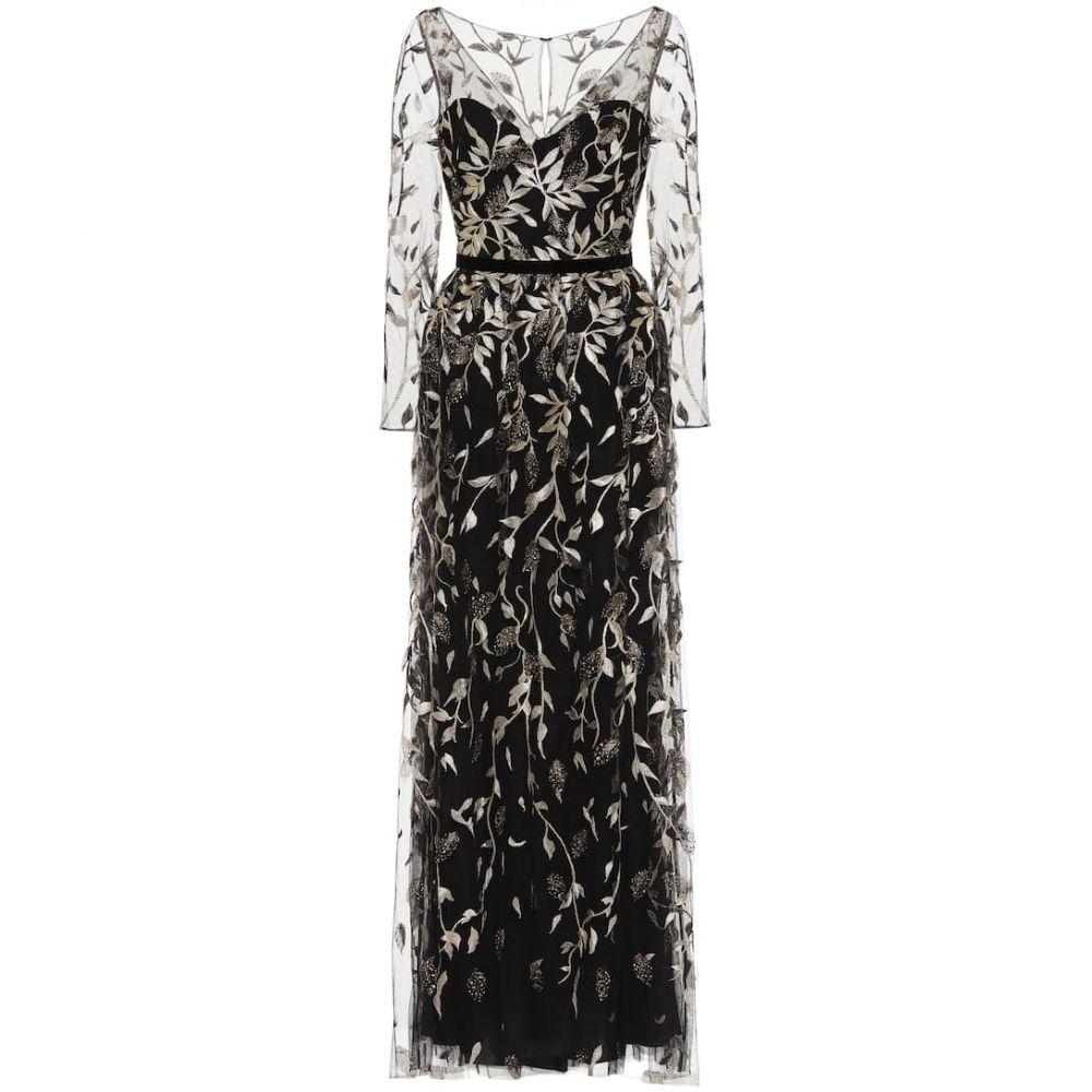ノッテ バイ マルケッサ Marchesa Notte レディース パーティードレス ワンピース・ドレス【embroidered tulle gown】Black/Gold