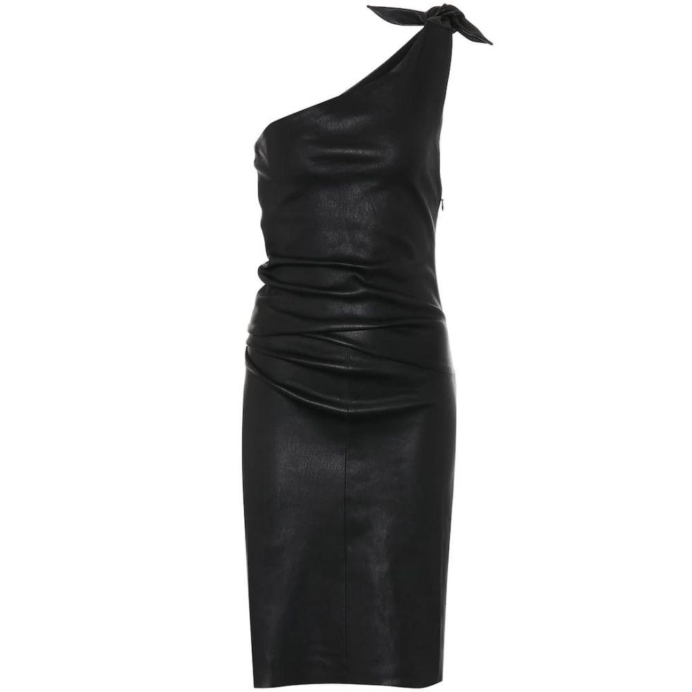 ストールス Stouls レディース ワンピース ワンショルダー ワンピース・ドレス【pepita one-shoulder leather dress】Noir