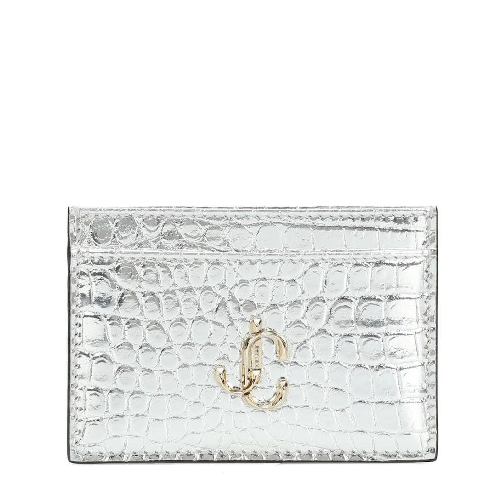ジミー チュウ Jimmy Choo レディース カードケース・名刺入れ 【umika snake-effect leather card case】Silver