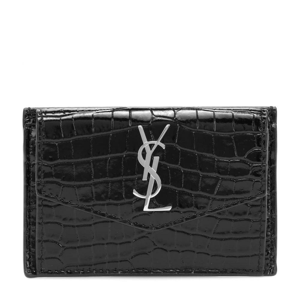 イヴ サンローラン Saint Laurent レディース 財布 【uptown croc-effect leather wallet】Noir