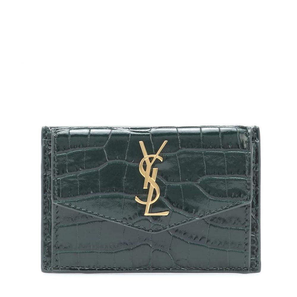 イヴ サンローラン Saint Laurent レディース カードケース・名刺入れ 【uptown croc-effect leather card case】Mint