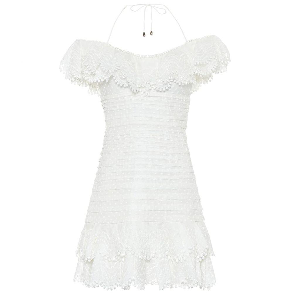 ジマーマン Zimmermann レディース ワンピース ワンピース・ドレス【super eight linen-blend minidress】Ivory