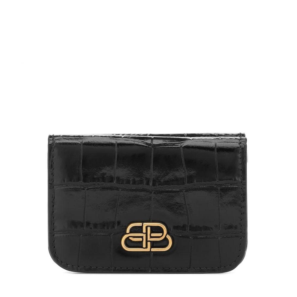 バレンシアガ Balenciaga レディース 財布 【bb mini croc-effect leather wallet】Black