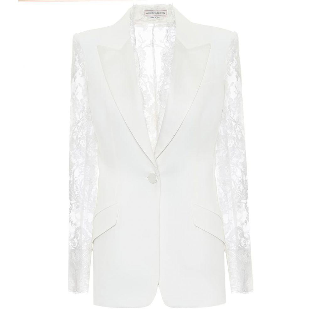アレキサンダー マックイーン Alexander McQueen レディース スーツ・ジャケット アウター【Lace-trimmed crepe blazer】Light Ivory