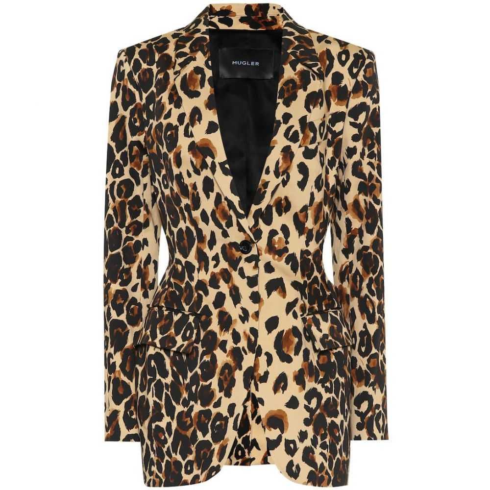 ミュグレー Mugler レディース スーツ・ジャケット アウター【Leopard-print cotton blazer】Natural Leopard