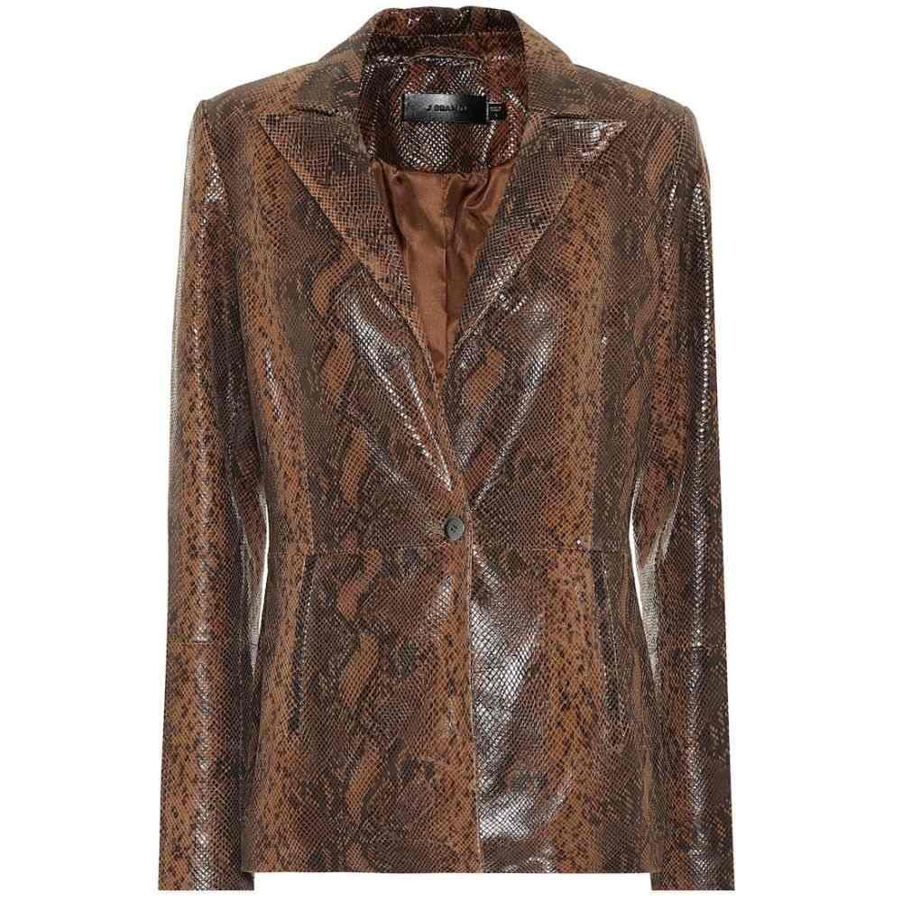 ジェイ ブランド J Brand レディース レザージャケット アウター【Londyn snake-effect leather blazer】Brown Snake