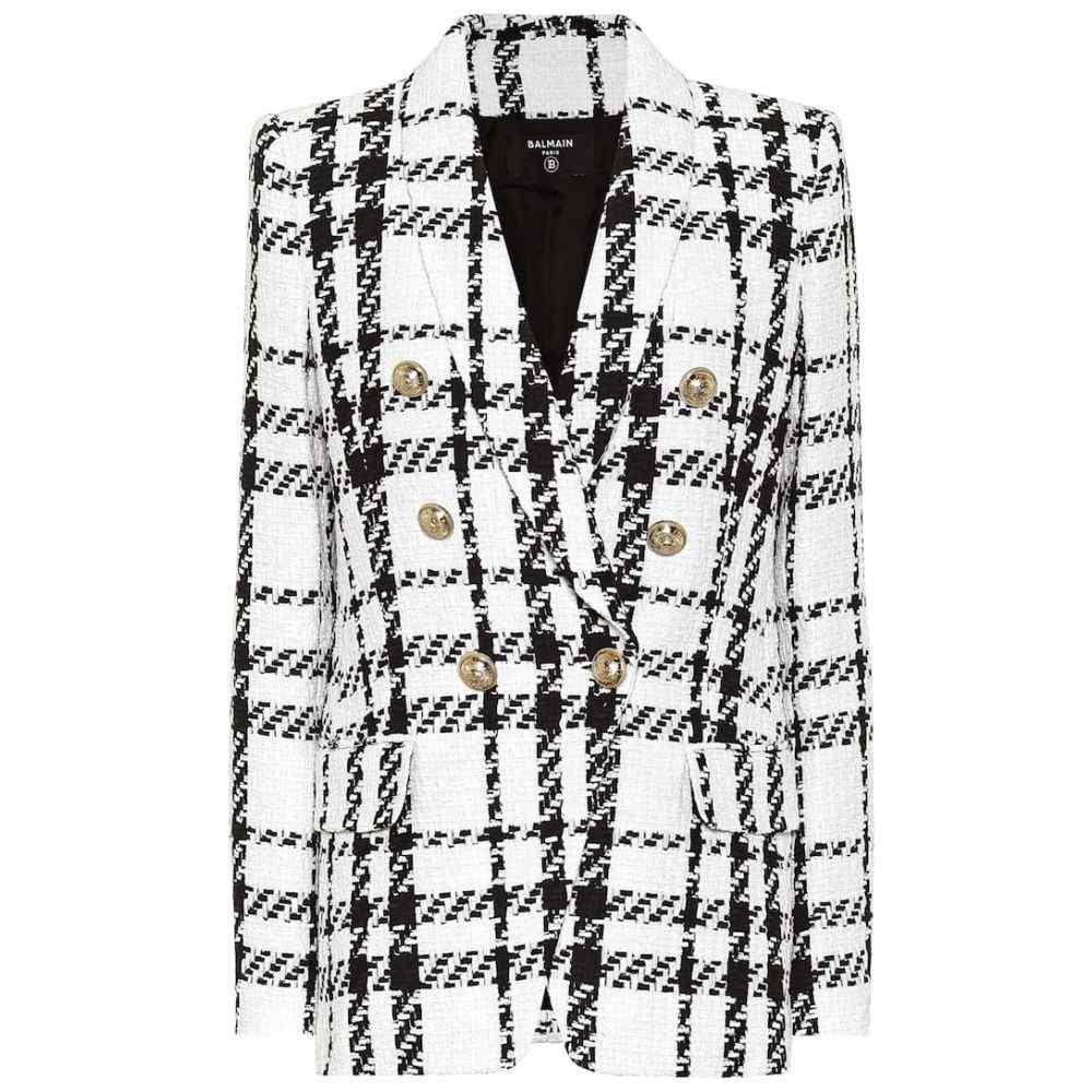 バルマン Balmain レディース スーツ・ジャケット アウター【Checked cotton-blend tweed blazer】Noir/Blanc