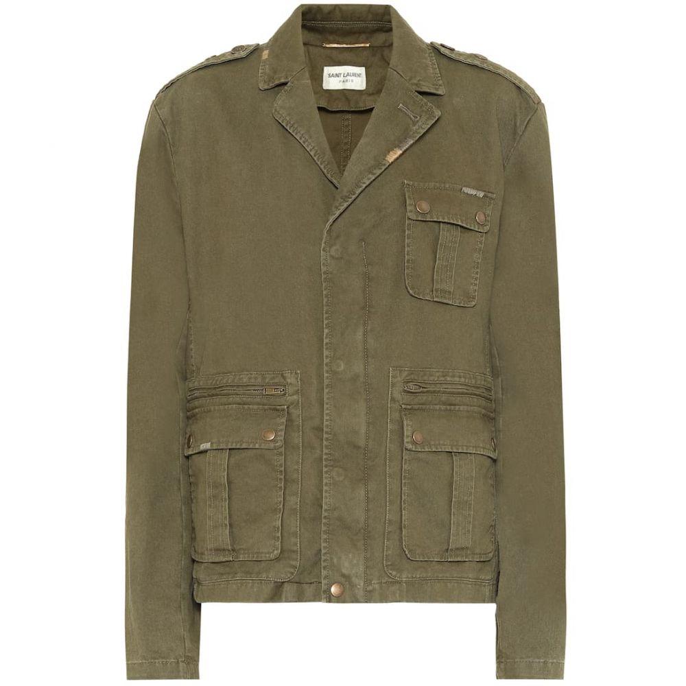 イヴ サンローラン Saint Laurent レディース ジャケット アウター【Saharienne cotton gabardine jacket】Kaki