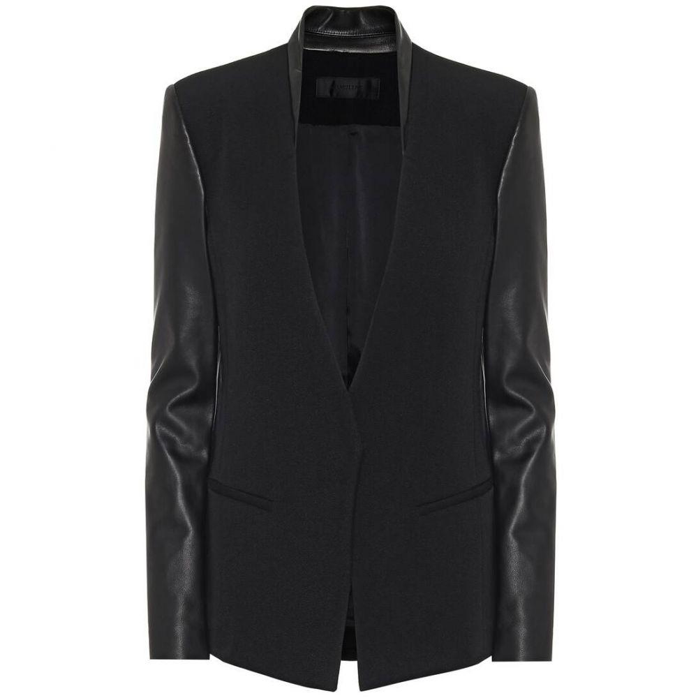 ヘルムート ラング Helmut Lang レディース レザージャケット アウター【Leather and wool blazer】Black